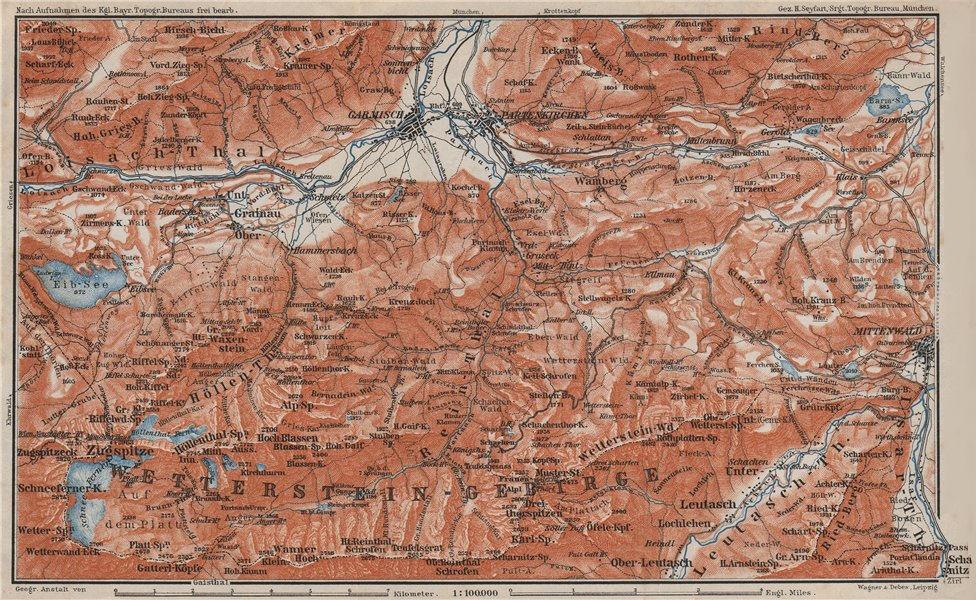 Associate Product GARMISCH-PARTENKIRCHEN environs. Mittenwald. Deutschland/Österreich 1910 map