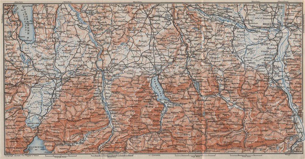 Associate Product BAYERISCHE ALPEN. Bavarian Alps. Lenggries Spitzingsee Bayrischzell 1910 map