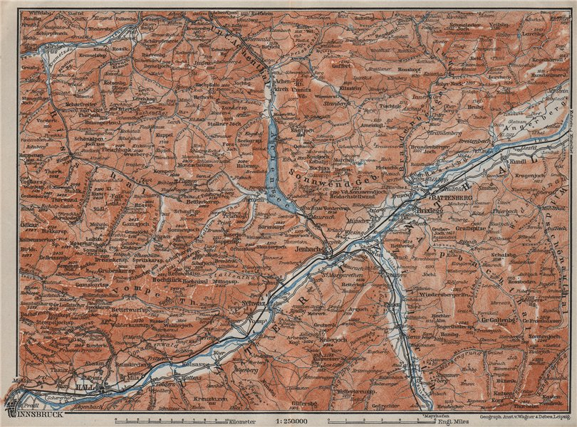 Associate Product ACHENSEE environs/umgebung. Unterinntal Rattenberg Innsbruck Karwendel 1910 map