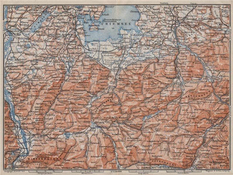 Associate Product CHIEMSEE, CHIEMGAU & environs. Kufstein Traunstein Lofer Kössen karte 1910 map