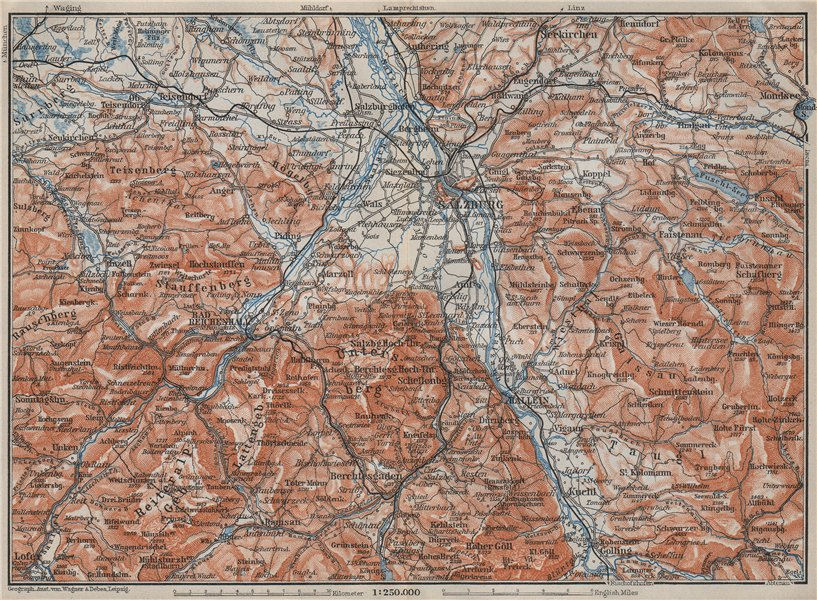 Associate Product SALZBURG environs. Berchtesgaden Faistenau Seekirchen Reichenhall 1910 old map