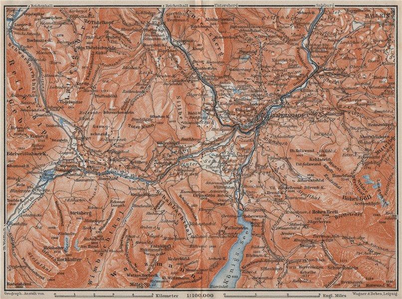Associate Product BERCHTESGADEN & environs/umgebung. Hallein Königsee. Deutschland karte 1910 map