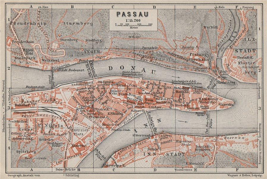 Associate Product PASSAU town city plan stadtplan. Inn Donau/Danube. Germany Deutschland 1910 map