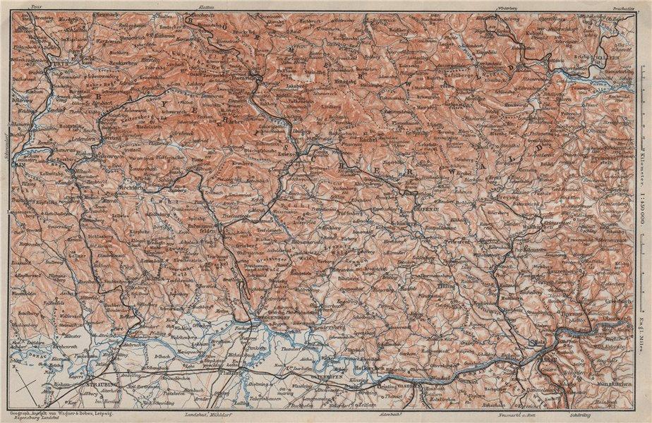Associate Product BAYRISCHERWALD. Bavarian Forest Cham Passau Böhmerwald karte. BAEDEKER 1910 map