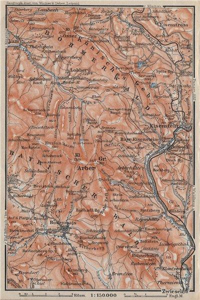 Associate Product BAVARIAN/BOHEMIAN FOREST Bayrischer/Böhmerwald. Bodenmais Zelezna Ruda 1910 map