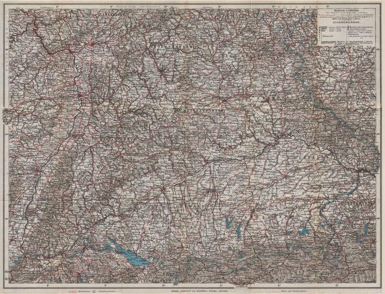 Associate Product SOUTH GERMANY SÜD-DEUTSCHLAND Bavaria Bayern Baden Württemberg Franken 1914 map