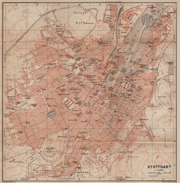 Associate Product STUTTGART antique town city stadtplan. Baden-Württemberg karte 1914 old map