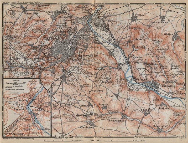 Associate Product STUTTGART environs/umgebung.Cannstatt Esslingen Fellbach Hommelshausen 1914 map