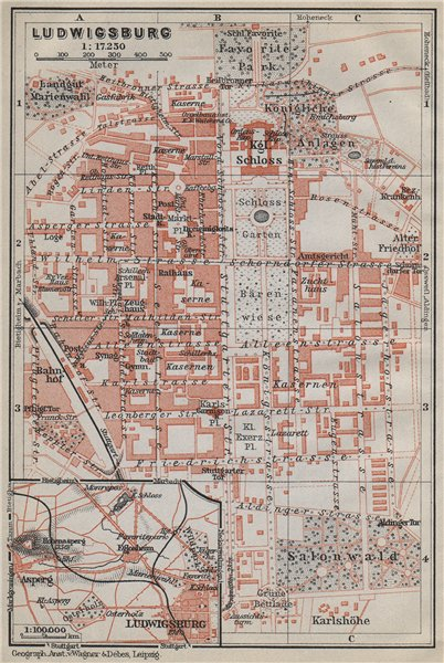 Associate Product LUDWIGSBURG town city stadtplan. Baden-Württemberg. Schloss karte 1914 old map