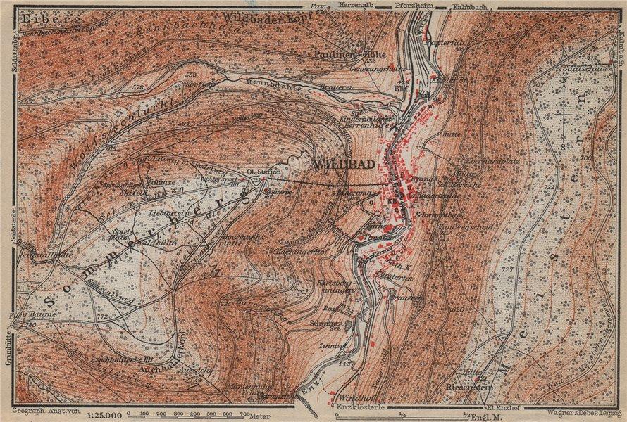 Associate Product BAD WILDBAD & environs/umgebung. Sommerberg. Baden-Württemberg karte 1914 map