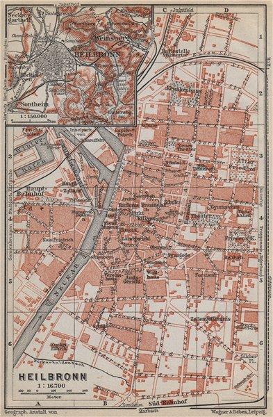 Associate Product HEILBRONN antique town city stadtplan. Baden-Württemberg karte 1914 old map