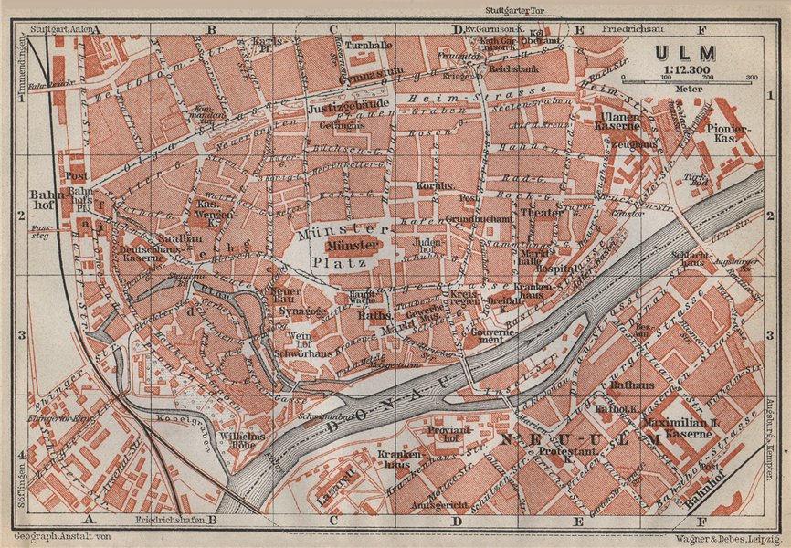 ULM antique town city stadtplan. Baden-Württemberg karte. BAEDEKER 1914 map
