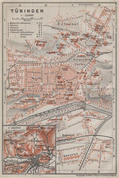Associate Product TÜBINGEN town city stadtplan. Baden-Württemberg. Tubingen karte 1914 old map