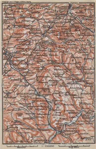 Associate Product SCHWÄBISCHE ALB Südwest. Swabian Jura. Obere Donau Balingen Tuttlingen 1914 map