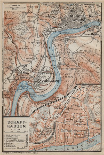Associate Product SCHAFFHAUSEN town city stadtplan & umgebung. Rheinfall. Rhine falls 1914 map
