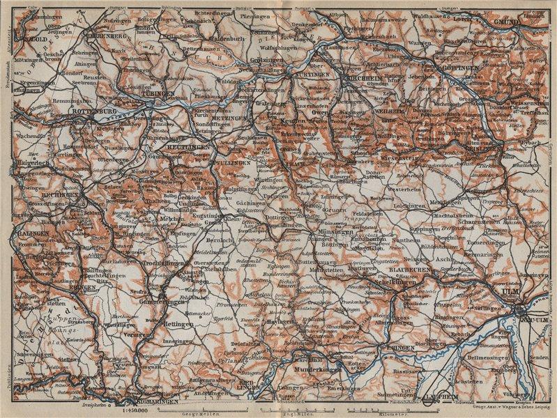 Associate Product SCHWÄBISCHE ALB. Swabian Jura topo-map. Ulm Rottenburg Gmünd Kirchheim 1914