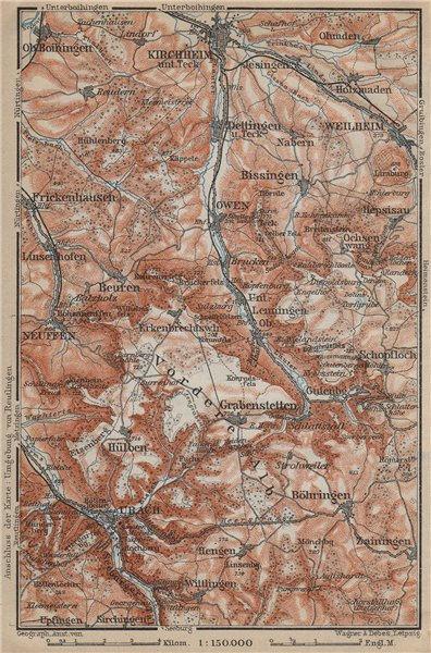 Associate Product KIRCHHEIM UNTER TECK & umgebung. Lauter valley Bad Urach Weilheim Burg 1914 map