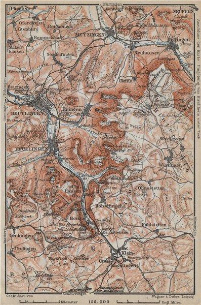 Associate Product REUTLINGEN Metzingen Pfullingen. Schwäbische Alb. Swabian Jura karte 1914 map