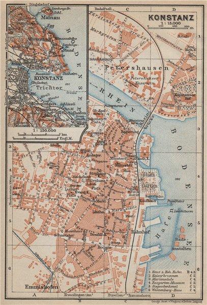 Associate Product CONSTANCE. KONSTANZ. town city stadtplan. Germany karte. BAEDEKER 1914 old map
