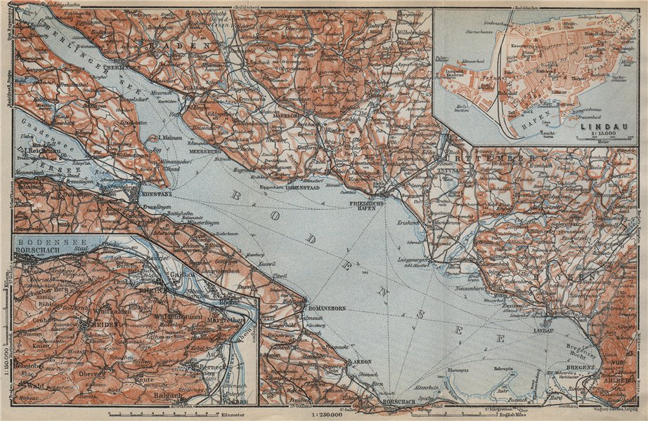 Associate Product LAKE CONSTANCE inset LINDAU. Konstanz St Gallen Bregenz. Topo-map 1914 old