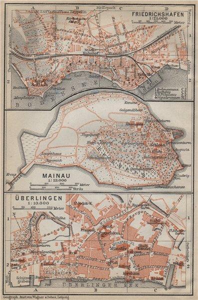 Associate Product BODENSEE LAKE CONSTANCE Friedrichshafen Mainau Überlingen stadtplan 1914 map