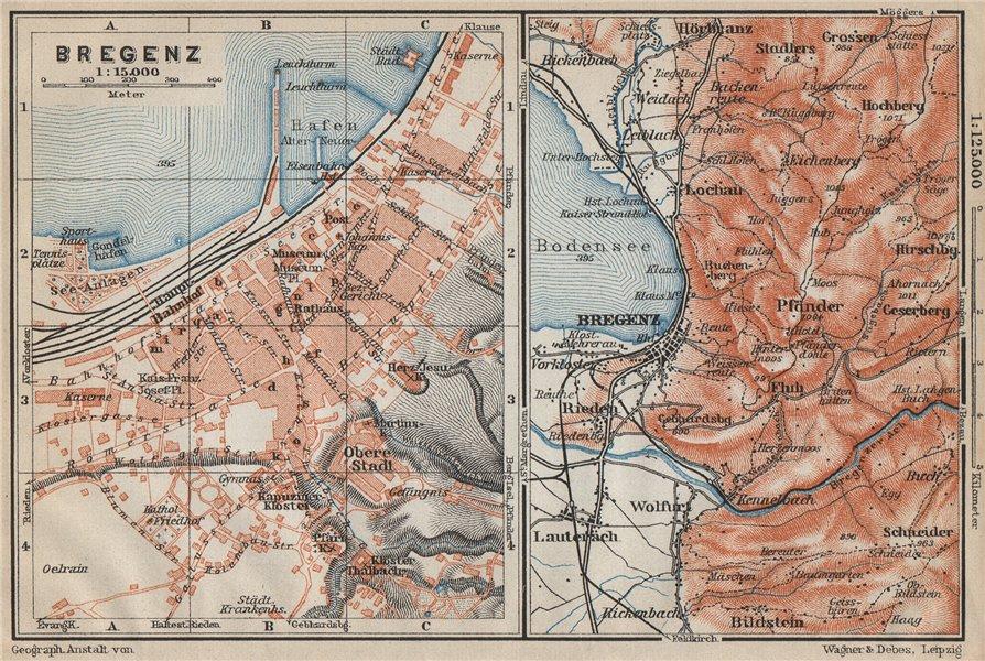 Associate Product BREGENZ town city stadtplan and environs. Österreich Austria karte 1914 map