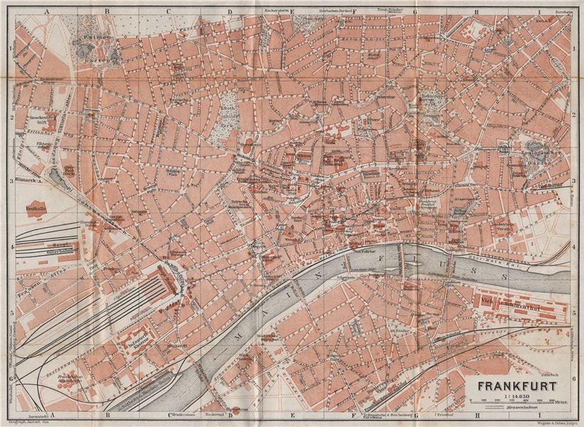 Associate Product FRANKFURT AM MAIN antique town city stadtplan. Hessen karte. BAEDEKER 1914 map