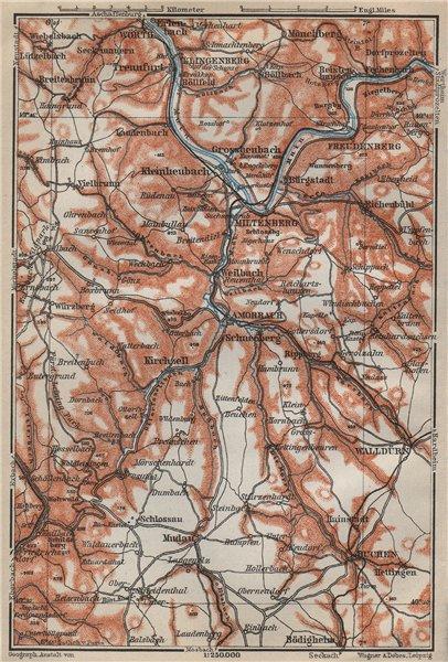 Associate Product MILTENBERG environs/umgebung ODENWALD Buchen Walldürn Klingenberg Main 1914 map