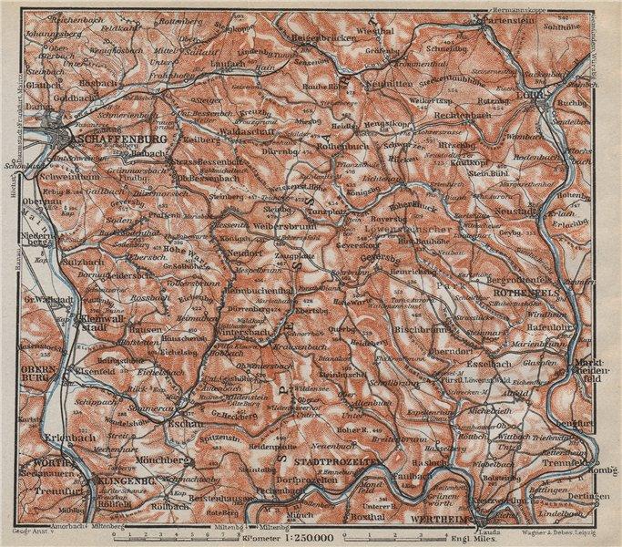 SPESSART topo-map. Aschaffenburg Lohr am Main Zertheim Geiersberg 1914 old