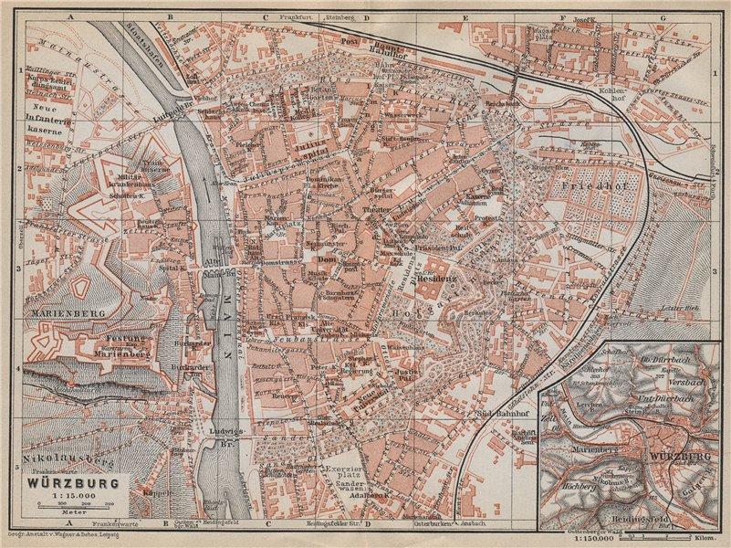 Associate Product WÜRZBURG town city stadtplan & umgebung/environs. Wurzburg. Bavaria 1914 map