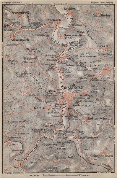 Associate Product BAD KISSINGEN & umgebung. Nüdlingen Eltinghausen Euerdorf Bocklet 1914 old map