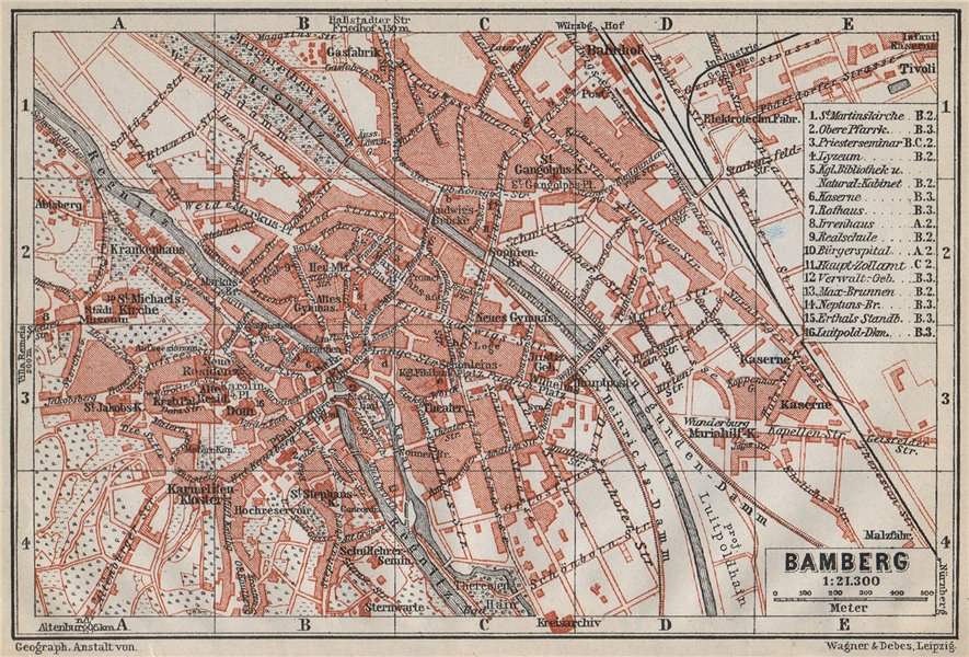 Associate Product BAMBERG antique town city stadtplan. Bavaria karte. BAEDEKER 1914 old map