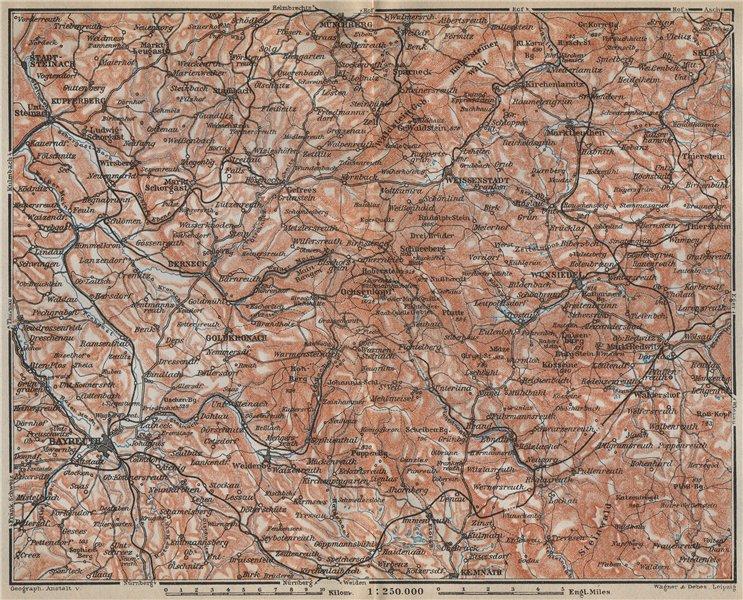 FICHTELGEBIRGE. Fichtel Mountains. Bayreuth Münchberg Wunsiedel Selb 1914 map