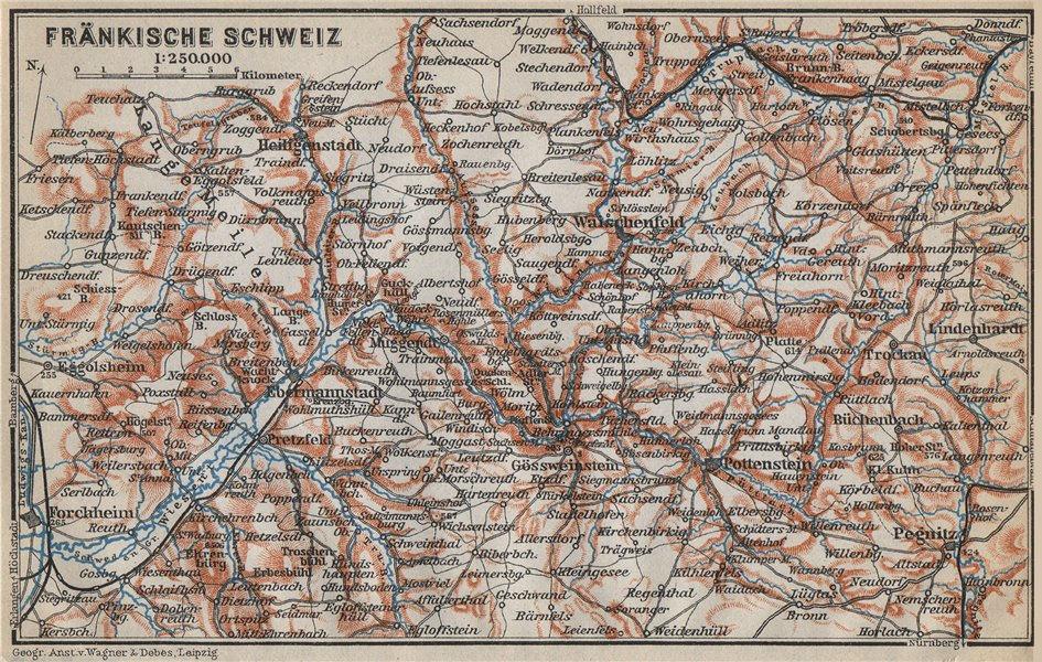 Associate Product FRANCONIAN SWITZERLAND. FRÄNKISCHE SCHWEIZ topo-map. Deutschland karte 1914