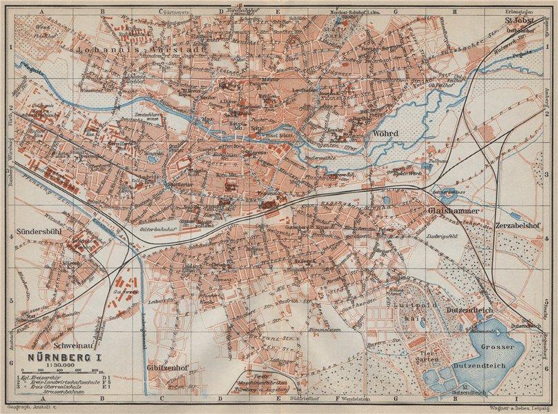 NÜRNBERG antique town city stadtplan. Nuremberg. Bavaria karte 1914 old map
