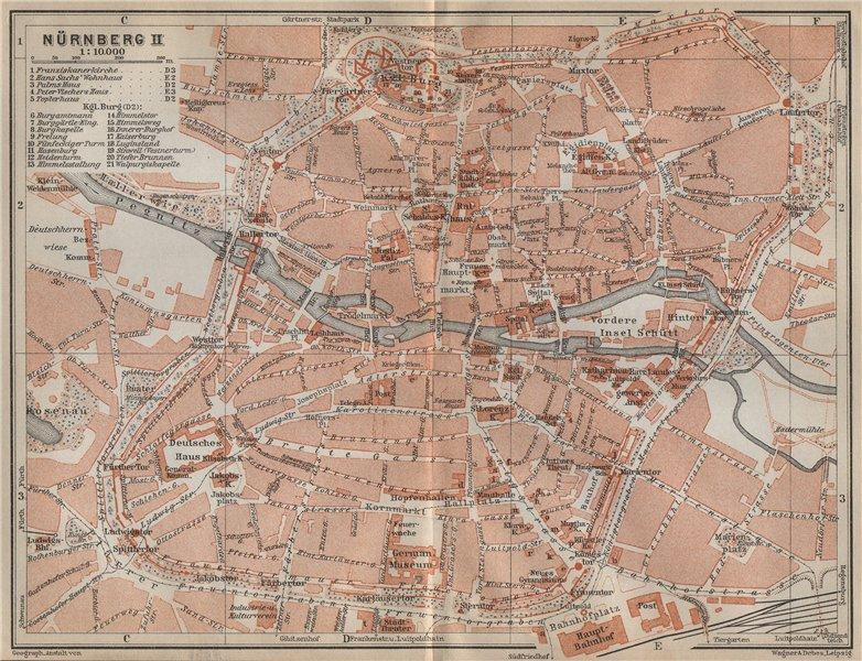 Associate Product NÜRNBERG town city centre/innere stadtplan. Nuremberg. Bavaria karte 1914 map