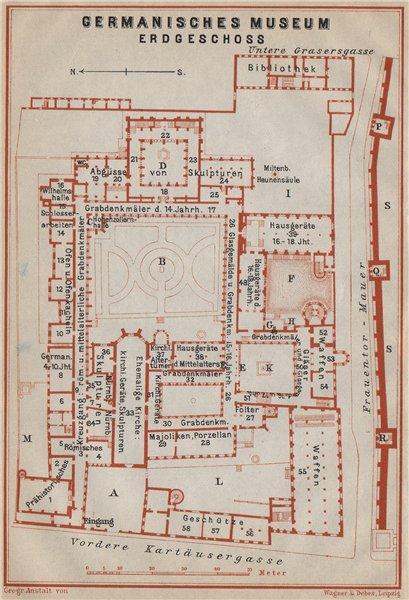 Associate Product GERMANISCHES NATIONALMUSEUM, NÜRNBERG Nuremberg. Ground floor plan 1914 map