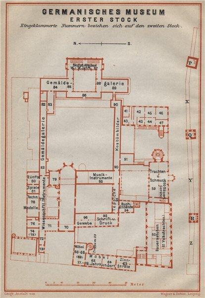 Associate Product GERMANISCHES NATIONALMUSEUM, NÜRNBERG Nuremberg. First floor plan 1914 old map