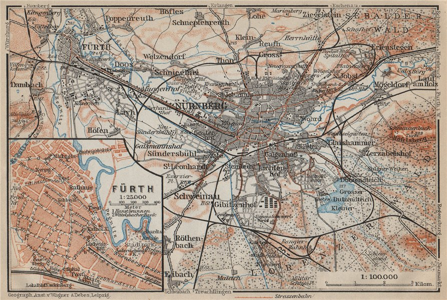Associate Product NÜREMBURG (NURNBERG) & FÜRTH town city stadtplan. Bavaria karte 1914 old map