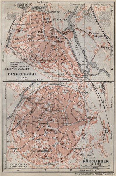 Associate Product DINKELSBÜHL & NÖRDLINGEN antique town city stadtplan. Bavaria karte 1914 map