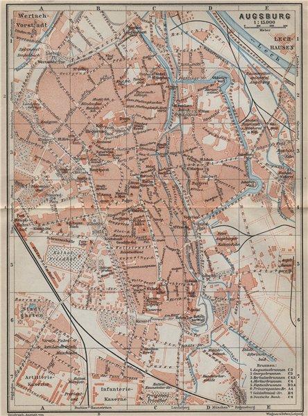 Karte Augsburg.Details About Augsburg Antique Town City Stadtplan Bavaria Karte Baedeker 1914 Old Map
