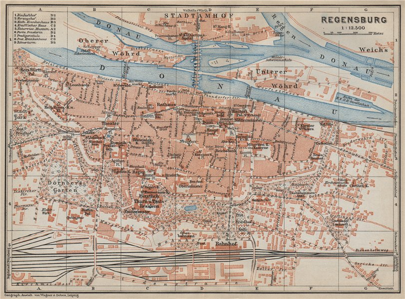 Associate Product REGENSBURG town city stadtplan. Bavaria. Ratisbon. Stadtamhof karte 1914 map