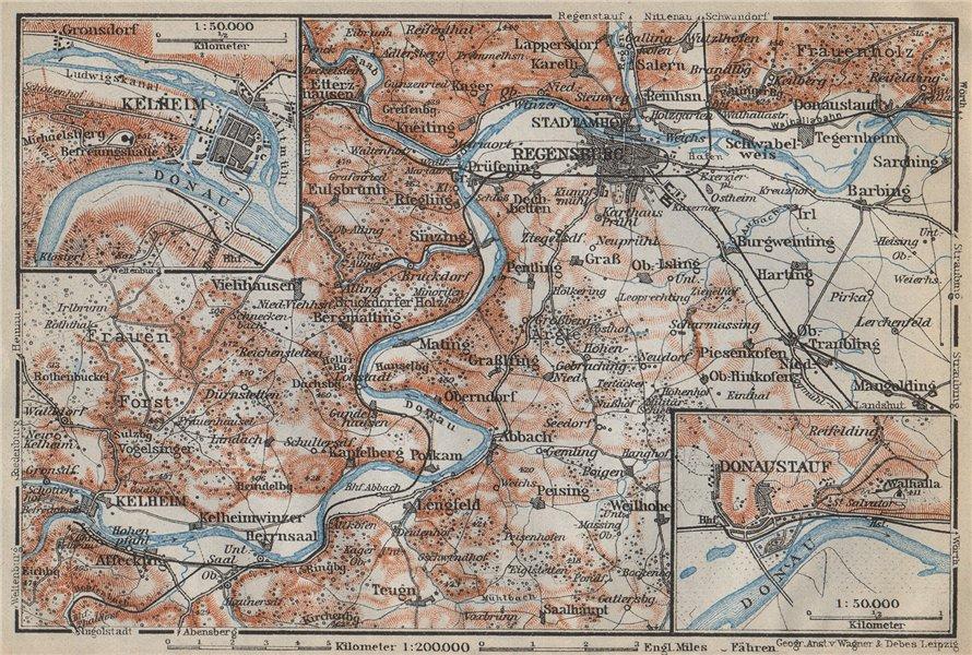Associate Product REGENSBURG & environs/umgebung. Kelheim Donaustauf. Ratisbon. Bavaria 1914 map