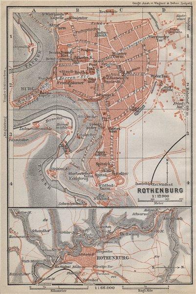 ROTHENBURG OB DER TAUBER town city stadtplan. Bavaria, Deutschland 1914 map