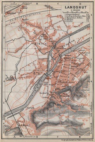 Associate Product LANDSHUT town city stadtplan. Bavaria. Nikola Hofberg Zwischen Brücken 1914 map
