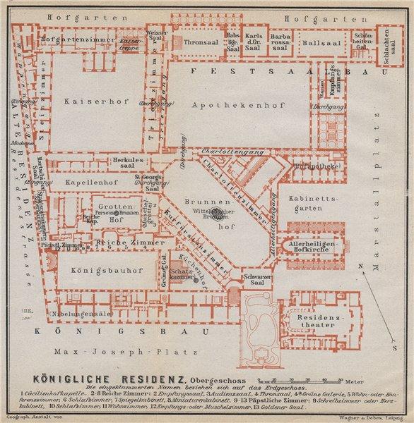 Associate Product Munich / MÜNCHNER RESIDENZ. Royal palace. Königliche. Ground plan 1914 old map