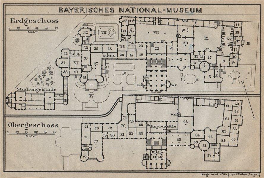 Associate Product BAVARIAN / BAYERISCHES NATIONALMUSEUM floor plan. Munich München karte 1914 map
