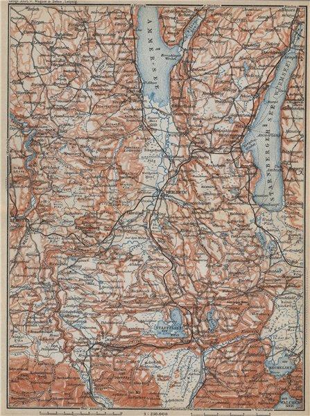 Associate Product STARNBERGERSEE & AMMERSEE. Weilheim Schongau Murnau Starnberg karte 1914 map