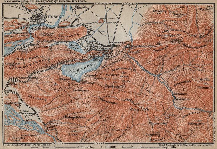 Associate Product HOHENSCHWANGAU  & FÜSSEN environs. Alpsee Deutschland Österreich karte 1914 map