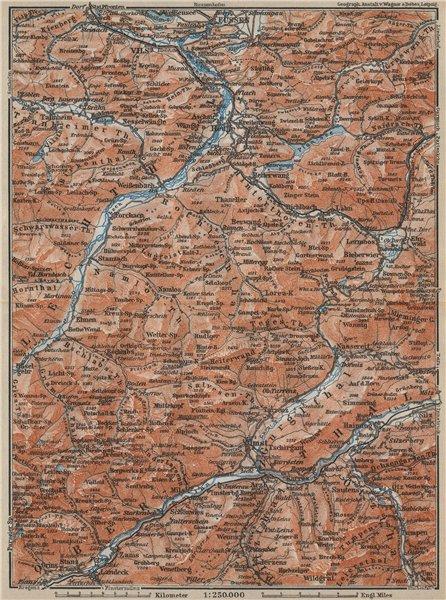 Associate Product LECHQUELLENGEBIRGE range. Reutte Imst Füssen Lechtal Oberinntal karte 1914 map